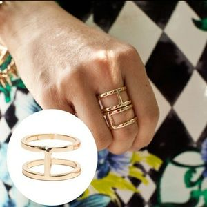 Gold double band ring